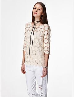 femei heartsoul Casual / zi cu zi simplu / bluza de vară drăguț, gât rotund de solid alb cu maneci ¾ / bumbac subțire galben