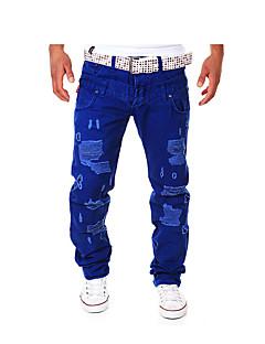 billige Herrebukser og -shorts-Menn Fritid / Arbeid / Plusstørrelse Ensfarget Chinos,Bomull / Polyester Svart / Blå / Brun / Oransje / Grå
