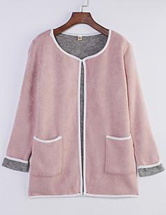 billige Pigesweaters og hættetrøjer-Dame Plusstørrelser Cardigan - Ensfarvet