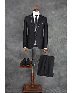 Black Solid Tailored Fit Polyester Suit - Notch Single Breasted One-button