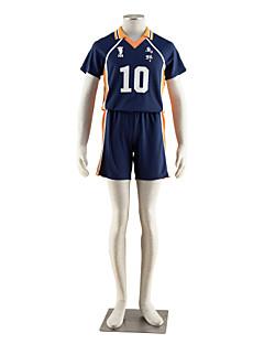 Inspirat de Haikyuu hinata Syouyou Anime Costume Cosplay Costume Cosplay Bloc Culoare Manșon scurt Tricou Pantaloni scurți Pentru