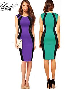 Χαμηλού Κόστους Stripes & checks-Γυναικεία Δουλειά Εφαρμοστό Φόρεμα - Μονόχρωμο Ριγέ Συνδυασμός Χρωμάτων Στρογγυλή Ψηλή Λαιμόκοψη