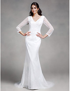 Mermaid / Trumpet V-neck Court Train Lace Wedding Dress with Lace Button by LAN TING BRIDE®