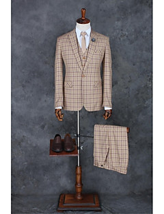 Khaki Checkered / Gingham Tailored Fit Polyester Suit - Peak Single Breasted One-button