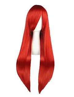 billige Anime cosplay-Cosplay Parykker Eventyr Elza Scarlet Rød Lang Anime Cosplay Parykker 80 CM Varmeresistent Fiber Mann / Kvinnelig