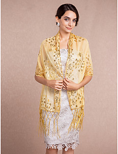 cheap Wedding Wraps-Voile Wedding Party Evening Shawls Wedding  Wraps With Sequin Shawls
