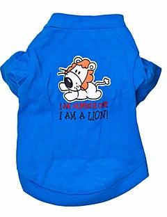 billiga Hundkläder-Katt Hund T-shirt Hundkläder Djur Blå Cotton Kostym För husdjur Herr Dam Mode