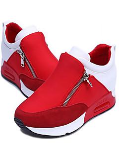 Pantofi pentru femei - Țesătură - Toc Pană - Vârf Inchis - Teniși la Modă - Outdoor - Negru / Roșu