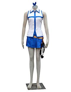 """Inspirert av Eventyr Lucy Heartfilia Anime  """"Cosplay-kostymer"""" Cosplay Klær Fargeblokk Ermeløs Topp Skjørte Til Kvinnelig"""
