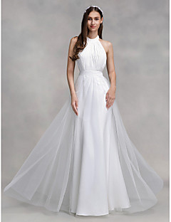 A Line Halter Floor Length Chiffon Tulle Wedding Dress With Draped By LAN TING BRIDE