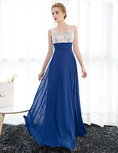 Sheath / Column V-neck Floor Length Satin Tulle Sequined Formal Evening Dress with Crystal Detailing by Embroidered bridal
