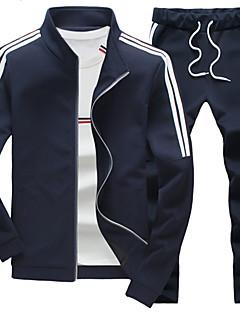 billige Hættetrøjer og sweatshirts til herrer-Herre Plusstørrelser Sport Aktiv beklædning sæt - Stribet