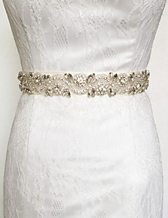 cheap Weekly Special-Satin Wedding Party / Evening Dailywear Sash With Rhinestone Beading Appliques Women's Sashes