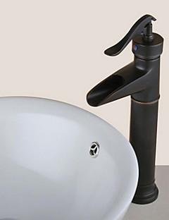 Starožitný Baterie na střed Vodopád Keramický ventil S jedním otvorem Single Handle jeden otvor Olejem leštěný bronz , Koupelna