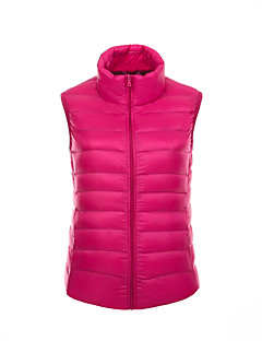 Damen Daunen Mantel,Standard Einfach Street Schick Aktiv Sport Ausgehen Lässig/Alltäglich Solide-Polyester Weiße Entendaunen Ärmellos
