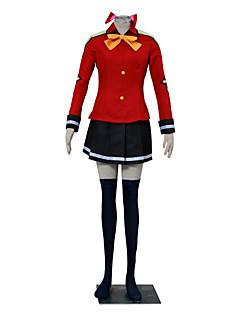 baratos Fantasias Anime-Inspirado por Fairy Tail Winry Anime Fantasias de Cosplay Ternos de Cosplay Estampa Colorida Manga Longa Casaco / Camisa / Saia Para Mulheres Trajes da Noite das Bruxas