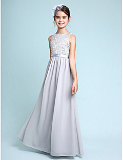 cheap Junior Bridesmaid Dresses-Sheath / Column Bateau Neck Floor Length Chiffon Lace Junior Bridesmaid Dress with Lace by LAN TING BRIDE®