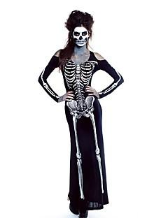 billige Halloweenkostymer-Ghostly Bride Cosplay Kostumer Party-kostyme Dame Halloween Karneval Oktoberfest Festival / høytid Halloween-kostymer Svart med Hvit