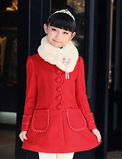 billige Jakker og frakker til piger-Pige Daglig Patchwork Jakke og frakke, Polyester Forår Efterår Vinter Langærmet Rød Lys pink