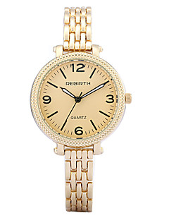 billige Høj kvalitet-REBIRTH Dame Quartz Armbåndsur / Hot Salg Legering Bånd Afslappet Elegant Mode Sølv Guld