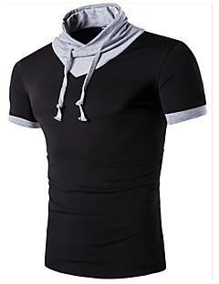 billige Herrers Moteklær-Bomull Høy krage T-skjorte Herre - Ensfarget Aktiv Sport / Kortermet