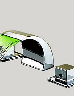 Moderní Široká baterie Vodopád with  Keramický ventil Se třemi otvory Dvěma uchy tři otvory for  Pochromovaný , Koupelna Umyvadlová