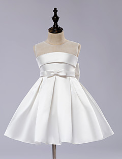 A-Line Knee Length Flower Girl Dress - Satin Tulle Sleeveless Jewel Neck with Pleats by Angels
