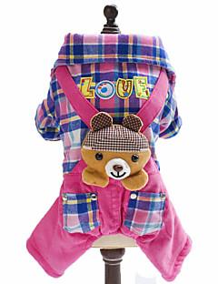 billiga Hundkläder-Hund Jumpsuits Hundkläder Pläd/Rutig Brittisk Djur Blå Rosa Polär Ull Cotton Kostym För husdjur Herr Dam Mode