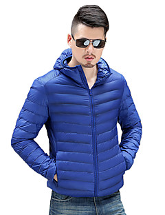 Men's Regular Down Coat,Polyester Solid Long Sleeve