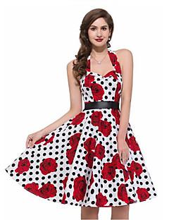 billige Vintage-dronning-Dame I-byen-tøj Vintage A-linje Kjole - Prikker, Trykt mønster Knælang Grime