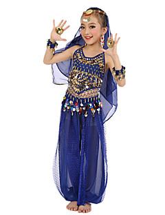 Göbek Dansı Kıyafetler Çocuklar için Performans Şifon Saten Polyester Altın Madeni Paralar Süs Pulları 6 Parça Kolsuz DoğalBaşlıklar Üst