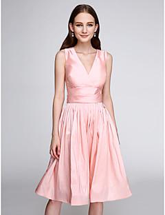 billiga Balklänningar-A-linje / Figursydd V-hals Knälång Taft Färgblock Cocktailfest / Bal Klänning med Bälte / band av TS Couture®