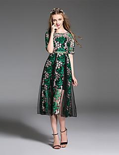 Χαμηλού Κόστους ES·DANNUO-Γυναικεία Γραμμή Α Δαντέλα Φόρεμα - Γεωμετρικό Μίντι