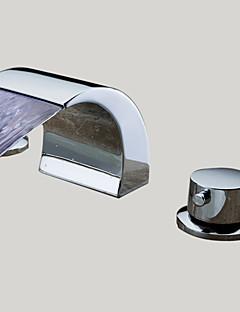 levne -Moderní Široká baterie Vodopád with  Keramický ventil Se třemi otvory Dvěma uchy tři otvory for  Pochromovaný , Koupelna Umyvadlová