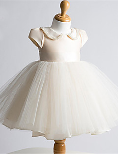 cheap Flower Girl Dresses-Ball Gown Short / Mini Flower Girl Dress - Tulle Short Sleeves Jewel Neck with Pearl Detailing by LAN TING BRIDE®