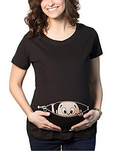 billiga Mammakläder-Blomma / Tryck, Konst Dekor / Abstrakt Bomull / Polyester T-shirt - Streetchic Dam