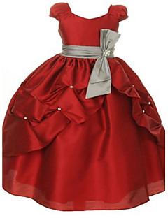 tanie Sukienki dla dziewczynek z kwiatami-Balowa Sięgająca podłoża Sukienka dla dziewczynki z kwiatami - Organza Krótki rękaw Wycięcie z Kokardki przez LAN TING Express