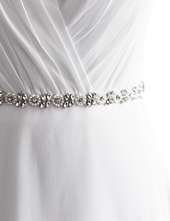 cheap Weekly Special-Satin Wedding Party / Evening Dailywear Sash With Rhinestone Beading Pearl Sequin Appliques Women's Sashes