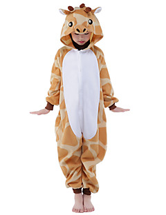 Kigurumi-pyjama's Giraffe Onesie Pyjama  Kostuum Flanel Fleece Oranje Cosplay Voor Kind Dieren nachtkleding spotprent Halloween Festival