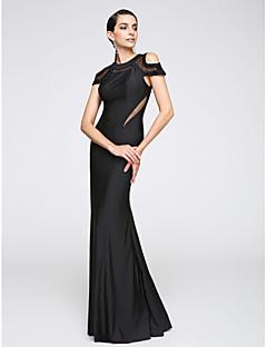 Trompetă / Sirenă Bijuterie Lungime Podea Tricot Seară Formală Rochie cu Pliuri de TS Couture®