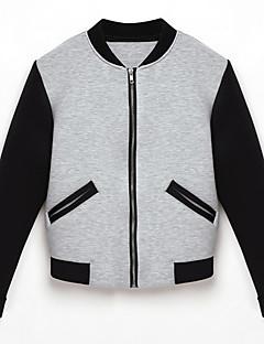 Damen Einfarbig Retro Lässig/Alltäglich Jacke,Alle Saisons Rundhalsausschnitt Langarm Grau Mittel Polyester