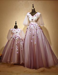 Linia -A Prințesă Bijuterie Lungime Podea Tulle Charmeuse Seară Formală Rochie cu Mărgele Aplică Flori de Huaxirenjiao