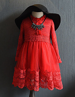 Girl's Casual/Daily Solid Dress,Polyester Spring Fall Long Sleeve Lace Gray Red