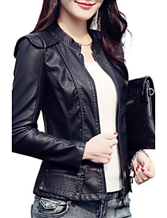 Women's Casual/Daily Vintage / Simple Fall / Winter Leather JacketsSolid Stand Long Sleeve Red / Black PU Medium
