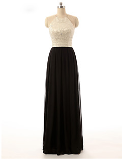 A-Line Halter Floor Length Chiffon Prom Formal Evening Dress with Beading by Shang Shang Xi