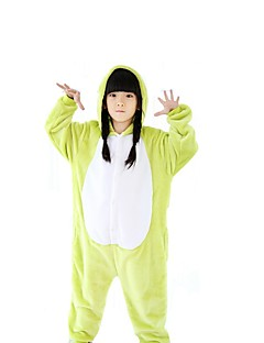 billige Kigurumi-Barne Kigurumi-pysjamas Frosk Onesie-pysjamas Polar Fleece Grønn Cosplay Til Gutter og jenter Pysjamas med dyremotiv Tegnefilm Festival / høytid kostymer