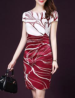 Для женщин На выход Большие размеры Изысканный Оболочка Платье С принтом,Круглый вырез Выше колена С короткими рукавами Шёлк Лето Со