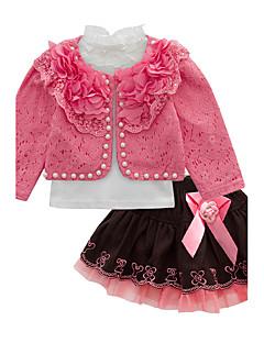 billige Tøjsæt til piger-Pige Tøjsæt Fest Bomuld Polyester Alle årstider Langærmet Gul Rød Lys pink