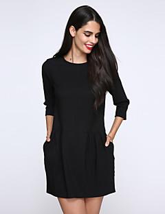 Sukienka - Obuwie damskie - Kieszeń / Plisy - Przed kolano - Długi rękaw - Okrągły dekolt
