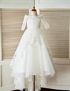 A-Line Sweep / Brush Train Flower Girl Dress - Lace Tulle Half Sleeves Bateau Neck with Beading Appliques by LAN TING BRIDE®